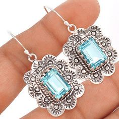 Blue-Topaz-Native-American-Reproduction-Silver-Earrings-SE85250