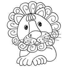 kawaii lion coloring page
