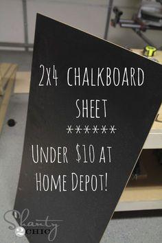 Furnishings and Decor: Chalkboard Easel DIY - Shanty 2 Chic Chalkboard Diy, Chalkboard Walls, Chalkboard Lettering, Chalkboard Drawings, Chalkboard Paint Crafts, Large Framed Chalkboard, Homemade Chalkboard, Chalk Fonts, Blackboard Paint