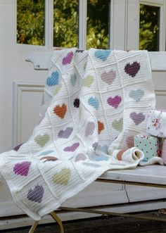 Extra love for the little ones with this crochet afghan in hearts