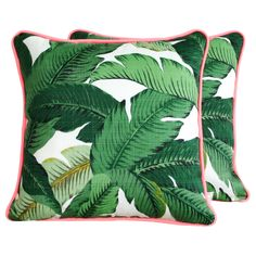 Green Palm cushion with pink piping. Green banana leaf print fabric, tropical decor, indoor/outdoor fabric.