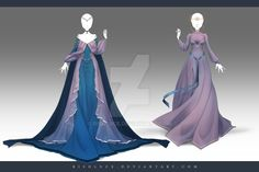 Commissions for by Nagashia on DeviantArt : (CLOSED) Adoptable Outfit Auction by JawitReen Dress Drawing, Drawing Clothes, Dress Sketches, Fashion Sketches, Anime Outfits, Cool Outfits, Moda Medieval, Anime Dress, Fantasy Dress