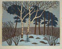 Winter, woodcut by Henrik Finne (1898-1992)