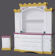 Queen Anne Dresser and Night Stand Cinderella Carriage Bed, Princess Castle Bed, Race Car Bed, Kids Dressers, Kids Storage, Jungle Theme, House Beds, Queen Anne, Nightstand