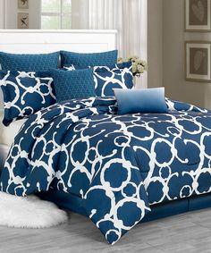 Indigo Rhys Hotel Quilted Overfilled Comforter Set by Duck River Textile #zulily #zulilyfinds