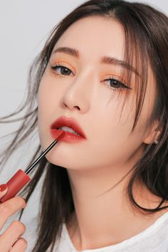 velvet lip tint in 2020 Red Lips Makeup Look, Korean Makeup Look, Asian Makeup, 3ce Lipstick, Red Lipstick Makeup, Makeup Inspo, Makeup Inspiration, Church Makeup, 3ce Makeup