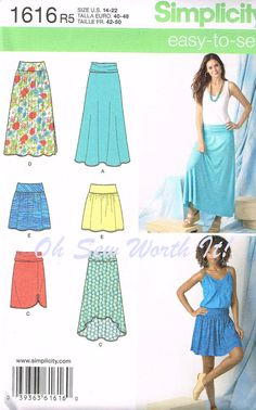 Lagenlook Patterns | Simplicity 1616, Commercial Sewing Pattern, Misses Knit Skirts, Size ...