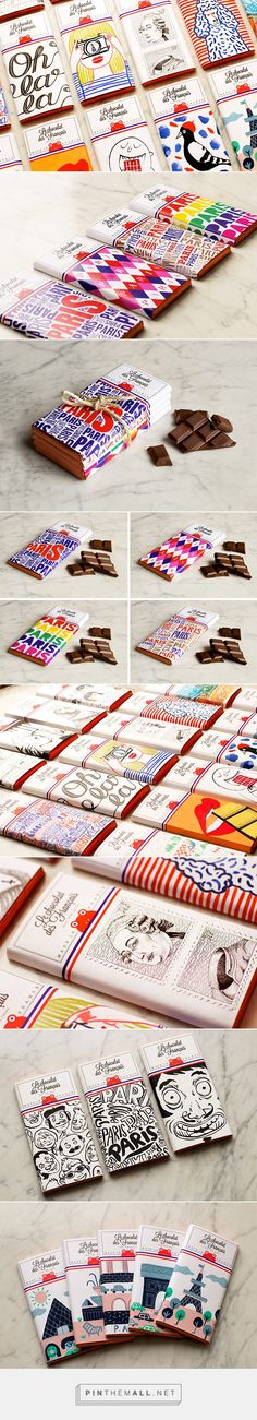 """Le chocolat des Français"" is a new chocolate brand, trendy with its colourful design and authentic; all for the pleasure of your eyes and mouth. Made traditionnaly in a small village in Ile-de-France, near Paris, Le chocolat des Français offe… Branding And Packaging, Pretty Packaging, Branding Design, Design Packaging, Japan Design, Packaging Design Inspiration, Graphic Design Inspiration, Love Design, Web Design"