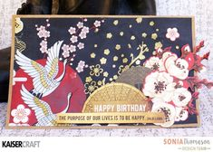 'Happy Birthday' Card by Design Team member Sonia Thomason for Kaisercraft Official Blog. Featuring 'Hanami Garden' collection and 'Cherry Tree' mini template (Feb.2017). Saved from kaisercraft.com.au/blog ~ Wendy Schultz ~ Cardds 1. Asian Crafts, Feb 2017, Oriental Style, Cherry Tree, Team Member, Garden S, Card Sketches, Happy Birthday Cards, Chinese New Year