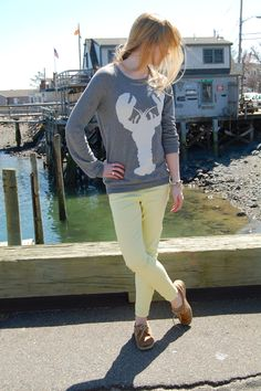 lobster sweater + yellow skinny jeans