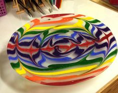 Large Rainbow raked fused Glass Bowl 19 diameter by BlingNthings9