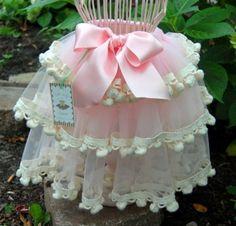 Sewn Tiered Pom Pom Tutu Skirt  Pink Cream  Baby by frillerup, $95.00