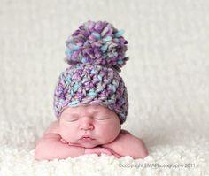 Baby Girl Hats, Crocheted Newborn Hat, Newborn Hats, Chunky Hat, Pom Pom Hat, Newborn Photography Prop, Crochet Infant Hat. $20.00, via Etsy.