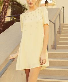 Look at this #zulilyfind! Yellow Embellished Shift Dress by Potter's Pot #zulilyfinds