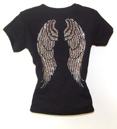 Angel Wing Rhinestone Black Womens T Shirts Top $24.95