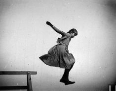 Young Ethel Merritt jumping in the air at Coney Island, Brooklyn, July 11, 1886