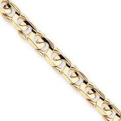 14k 8mm Hand-polished Fancy Link Chain Bracelet - 8 Inch - Lobster Claw - JewelryWeb JewelryWeb. $2690.40. Save 50%!