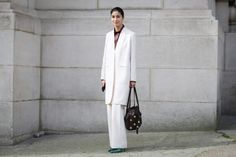 Classic pant suit with great accessories.