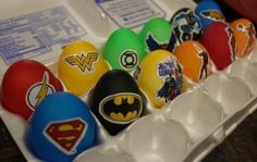 Justice League of Eggmerica!! dye tablets, extra food coloring, white vinegar and Justice League stickers. (I am SO doing this next year!)