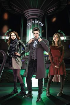 """Doctor Who - The Eleventh Doctor, Amy and Clara - 12 x 8"""" Digital Print"""