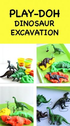 Play-Doh Dinosaur Excavation.  A fun playtime creation with Play-Doh, dinosaur figurines, and paper!