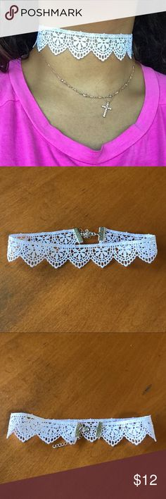 White Lace Adjustable Choker White Lace Adjustable Choker *** backings are shown, the ends allow for any adjustment depending on how tight or loose you decide to wear this. Class your outfit up with the Lace detailing and show off your tan with the spotless white design YUNI Jewelry Necklaces