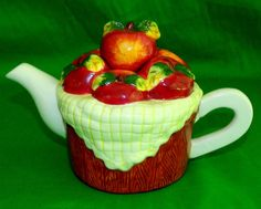 TEA POT Apple Basket Apple Apple Home Decor Country Kitchen BY Houston Harvest | eBay
