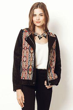 Anthropologie EU Tapestry Faux Fur Jacket Butterick 6169