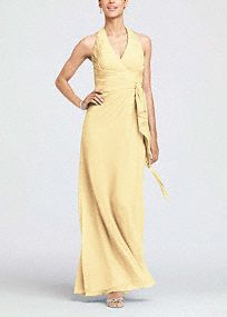 Long Bridesmaid Dresses - Davids Bridal (Soft Crinkle Chiffon Halter with Draped CascadeStyle F12688 ) in Lapis $99