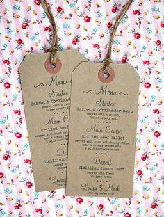 luggage tag menu, travel wedding