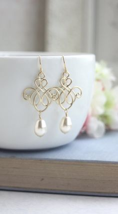 Wedding Earrings Gold Pearl Venetian Moroccan Chandelier Filigree Earring Gold Victorian Earring Bridesmaid Gold Ivory Pearls Bridal Wedding by MAROLSHA - https://www.etsy.com/listing/249604458/wedding-earrings-gold-pearl-venetian