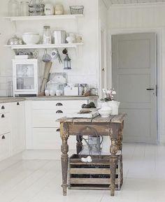 By @niellaboheme. Cute rustic little wooden table.