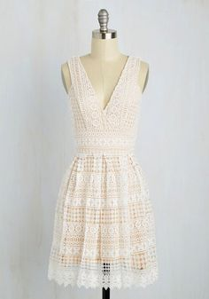 Boldest Geometric in the Book Dress - White, Tan / Cream, Solid, Crochet, Daytime Party, A-line, Sleeveless, Spring, Woven, Better, Mid-length, Lace, Boho