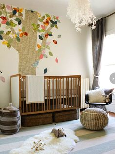 #nursery, #crib, #mural, #walls, #kids-bedroom    View entire slideshow: 20 Modern Nurseries on http://www.stylemepretty.com/collection/359/