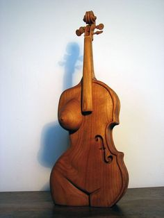 void-dance: Sculpture by olivelebasque: formes ideales Violin Art, Wood Sculpture, Wood Carving, Love Art, Female Art, Instruments, Woodworking, Statue, Inspiration