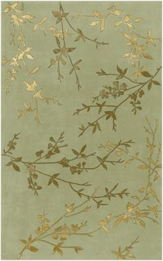 Tamira Contemporary Transitional Olive Green Gold Contemporary Leaf Hand Made Wool Rug - Surya | Rugs by SelectRugs.com