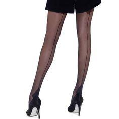 LE BOURGET Collant Couture Retro 20D Les Dessous Chics Noir en voile 20 deniers