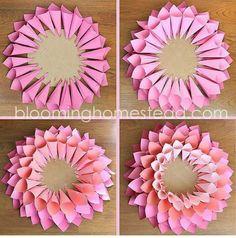 DIY Spring Wreath - Blooming Homestead - Paper Wreath By Blooming Homestead - Wreath Crafts, Diy Wreath, Flower Crafts, Wreaths, Diy Spring Wreath, Spring Crafts, Giant Paper Flowers, Diy Flowers, Couronne Diy