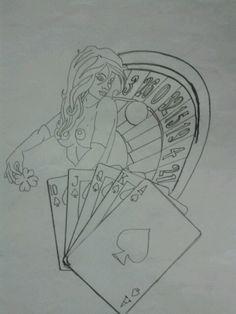 Gambling themed tattoo design i drew for a friend