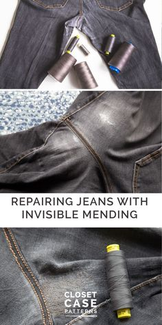 "Sewing Machine Tutorial Use an - Use our ""invisible"" mending technique to repair jeans and denim on a home sewing machine! Repairing jeans has never been easier with this free sewing tutorial. Sewing Hacks, Sewing Tutorials, Sewing Tips, Repair Jeans, Techniques Couture, Leftover Fabric, Love Sewing, Sewing Projects For Beginners, Boro"