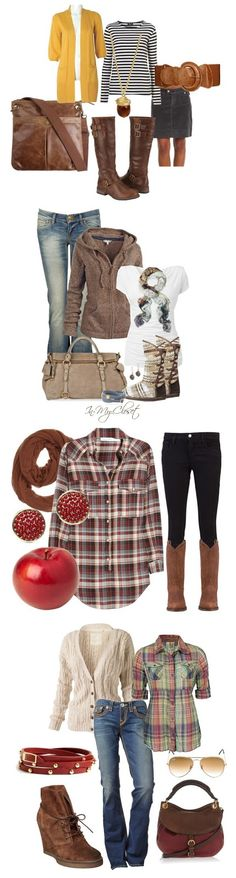 Fall Fashion  Plaid, Brown, Cardigans Fall outfit ideas