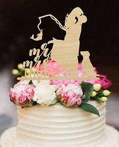Fishing Wedding Cake Toppers Bride and Groom with Dog Mr and Mrs  Personalized Last Name with 77c37622b7
