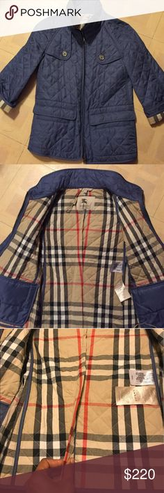 AUTHENTIC PERIWINKLE 3/4 Jacket Pretty good condition. I have gotten it altered to fit me because it was a bit too big; as you can see in the picture. It fits an extra small to a small. Also a snag thats shown in the picture as well. You cant notice any of the flaws while wearing it. The color of the pictures sucks. The original color is a light to dark blue Burberry Jackets & Coats