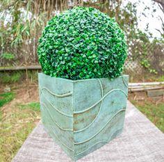 "Turquoise planter with 16"" boxwood ball.www.geraniumstreet.com"