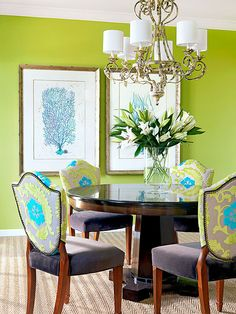 The bold hue, complemented by strong turquoise is repeated in the fabric on upholstered shield back chairs: http://www.bhg.com/decorating/color/schemes/color-combos-using-green/?socsrc=bhgpin031214boldcolorschemepage=7