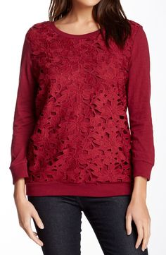 Lace Front Shirt in Wine