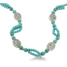Spring 2013 Trend - Southwest-Inspired Stunners: Long Turquoise and Silver Tone Leaf Design Beaded Necklace