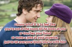 I know what it is to feel like you're not in the room till he looks at you  or touches your hand or make a joke at your expense, just to let everyone know you're with him. #Love #Valentine'sCards #Valentine #picturequotes  View more #quotes on http://quotes-lover.com