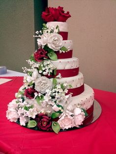 5 tier cake made for my grandmothers 75th birthday