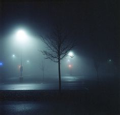Empty Parking Lots at Night